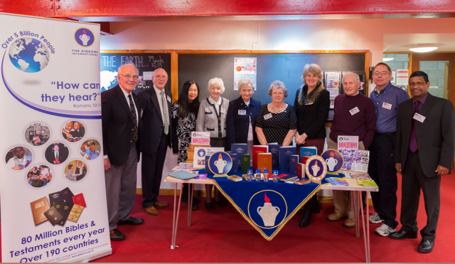 Some of the Aberdeen Branch members on the Gideon Bible stand