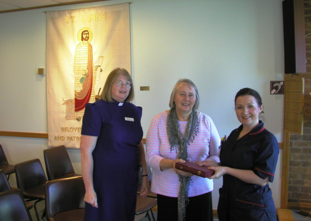 Auxiliary member Jill Massey presented a bible to Surgical Matron Kelly Harwood, together with Hospital Chaplain Barbara Hutchinson before a distribution to top up all the wards at the Pilgrim Hospital, Boston, during the Tuesday afternoon. Many Medical Testaments were accepted by staff - including one lady who Gideon John Marshall had been at Primary School with in 1964! They had not seen each other for decades.