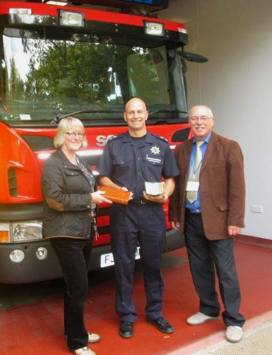 In Nottinghamshire East, a Bible was presented to Station Officer Frazer Cross by  Paul and Andrea Stone at Southwell Fire and Rescue.
