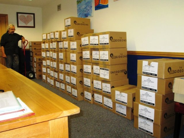 Gideon Richard Morrison - with Bibles and Testaments ready for distribution from our base station